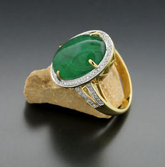 Emerald - diamond ring 12.46 ct, of which 1 emerald 12.21 ct, 750 yellow gold - no reserve price! --