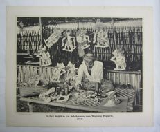 School poster Indonesia: Cutting and painting of Wayang dolls - 1912
