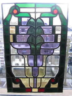 Beautiful old large Art Nouveau window hanger with soft colours in stained glass with mosaic pieces from mouth-blown glass - ca. 1900