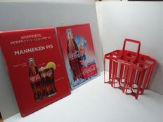 Coca cola tin advertising signs and bottles carrier. -Belgium - 1974/1985.
