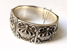925 silver bangle with crown pattern - 57 mm