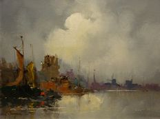 J van Dongen (20th century) -  Hollands haven gezicht