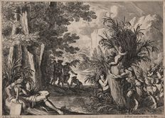 Jean Le Pautre ( 1618-1682 )   - River landscape with Pan embracing Syring - First state published by Le Blond - ca. 1650