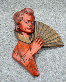 "Art deco wall mask manufactured by ""achatit handarbeit germany"""