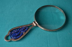 Silver magnifying glass with lapis lazuli, Portugal, ca. 1930