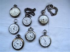 Lot of 7 late 19th century pocket watches