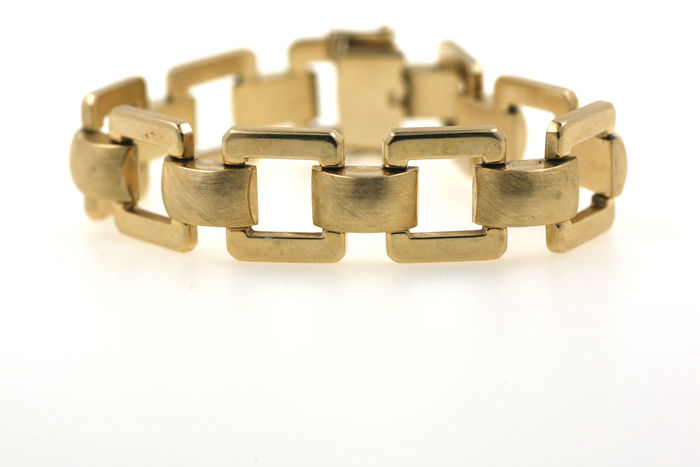 Gold bracelet made of solid 585/14 kt yellow gold - 19 cm