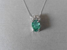 14k Gold Emerald and Diamond Pendant and chain