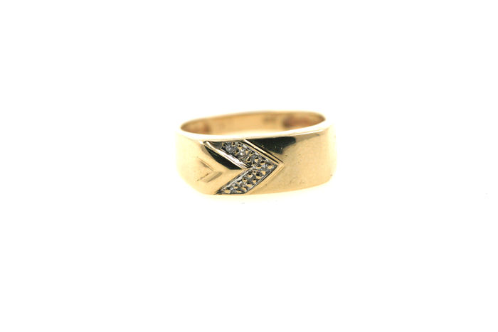 Gold 585 ring - brilliant of 0.15 ct - size 59
