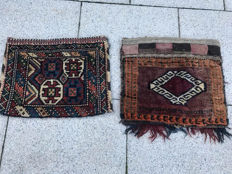 Two hand-knotted Persian camel bags