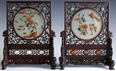 A pair of openwork wood table screens - China - second half 20th century