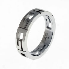 "Gucci - ""GG Icon"" 18k White Gold Ring - Thin Band"