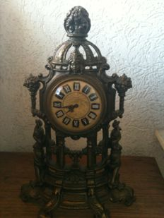 Lot of two clocks - bronze clock with Mercedes movement and wooden clock with thermometer