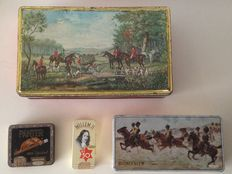 Old coffee and cigar tins: Eduscho kaffee Bremen, Panter, Willem II and Ritmeester - ca. 1950