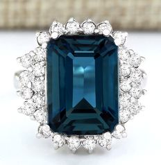 Axclusive 11.65carat Natural London Blue Topaz And Diamond Ring In 14K Gold- No Reserve !!! Free shipping !!!