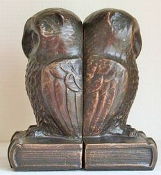 Art Deco style owl bookends.