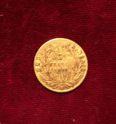 France - 5 Francs 1859-BB Strasbourg - Napoleon III - Gold