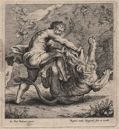 Frans van den Wyngaerde ( 1614 - 1679) - Rubens print: Samson slays the lion - ca. 1650