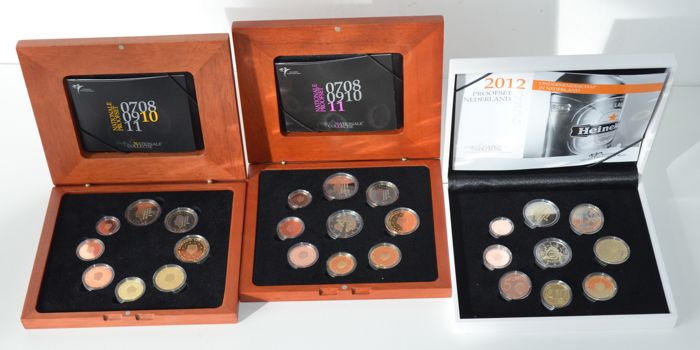 The Netherlands – year packs (Proof) 2010, 2011 and 2012.