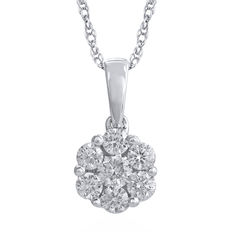 18kt white gold diamond cluster pendant 0.50ct total weight of round diamonds with an 18 inch trace chain