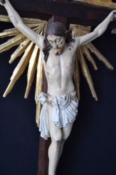 A large carved, polychromed and parcel gilt crucifix - Portugal - circa 1800