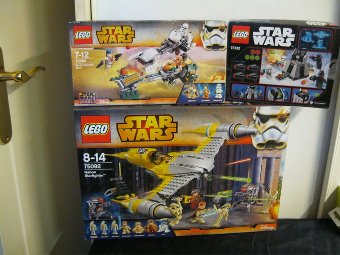 Star Wars - 75092 + 75090 + 75132 - Naboo Starfighter + Ezra's Speeder Bike + First Order Battle Pack