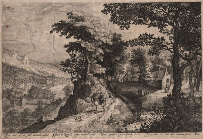 Gillis van Coninxloo (1544-1607) by Claes Jansz. Visscher (1587 - 1652): Landscape with Tobias and the angel - 1608