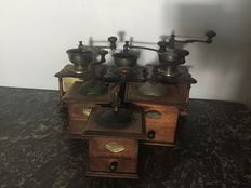 Six old coffee grinders, second half of the 20th century