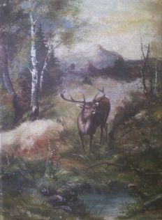 F. Ostermann (20th century) - Roaring deer on a meadow - Glade