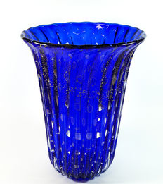 Silvano Signoretto -  large Sommerso vase in gold and blue