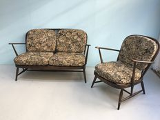 Luciano Ercolani for Ercol, two-seater sofa with matching armchair