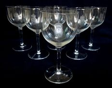 6 St Louis crystal wine glasses, Royal crown and SR monogram, France, mid 20th century