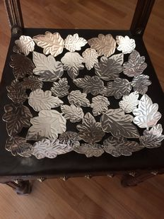 Unique silver tray with leaves
