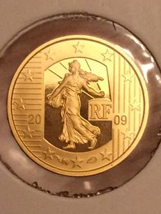 "France 5 euros 2009 ""50 years human rights"" gold."