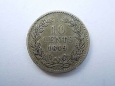 Netherlands - 10 cent 1849b (without point) Willem II - silver