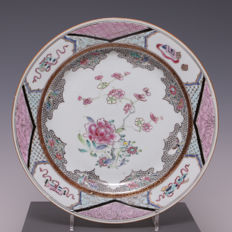 Beautiful famille rose porcelain plate, peony and blossom – China – 18th century