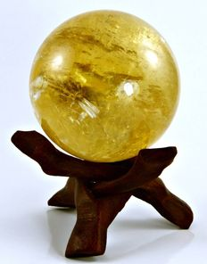 Honey Calcite, with hardwood stand - 72mm - 527gm