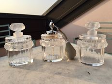 LALIQUE (France) - Robinson, three-piece crystal toilette set (soap and perfume holders)