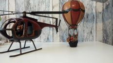 Two Flight Vintage Figures - Helicopter and Balon - 20th century
