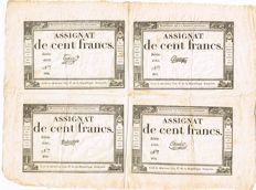 France - 4 x assignat de 100 francs 1795 - Series of four - Pick A78