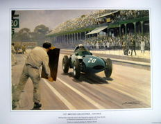 "Fine Art Print  - ""British Grand Prix 1957 - Aintree""  - Vanwall #20 Stirling Moss"