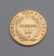 Turket, 50,000,000 lira, gold 2001 with brilliant.