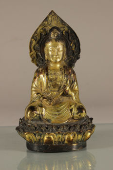 Gold plated bronze Buddha – China – Late 20th century