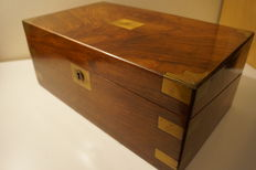 A Victorian rosewood and brass inlaid writing box - England - circa 1880