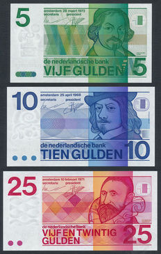 Netherlands - 5 Guilders 1973, 10 Guilders 1968 & 25 guilders 1971 - NVMH 24-1, 49-1a and 84-2