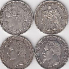 France - 5 Francs 1867-A, 1869-BB, 1870-K & 1875-A (lot of 4 coins) - Silver