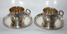Two cups and two saucers in solid silver Minerva hallmark sterling silver nineteenth 1880 Paris