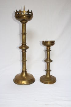 two Gothic brass church candlesticks - Holland - 20th century