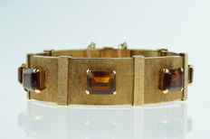 14 kt gold bracelet with 7 x citrine, large model, unique jewellery, length of 18.5 cm
