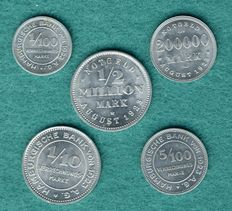 Hamburg - 5 emergency coins 1923, complete edition